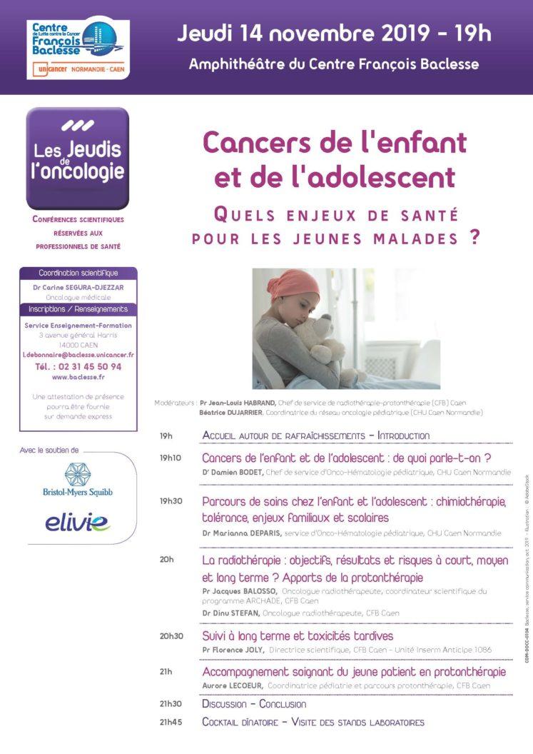 COM DOCC 0104 AFF Jeudi onco 2019 11 14 Cancer enfants adolescents 747x1056 - Cancers de l'enfant et de l'adolescent : quels enjeux de santé pour les jeunes malades