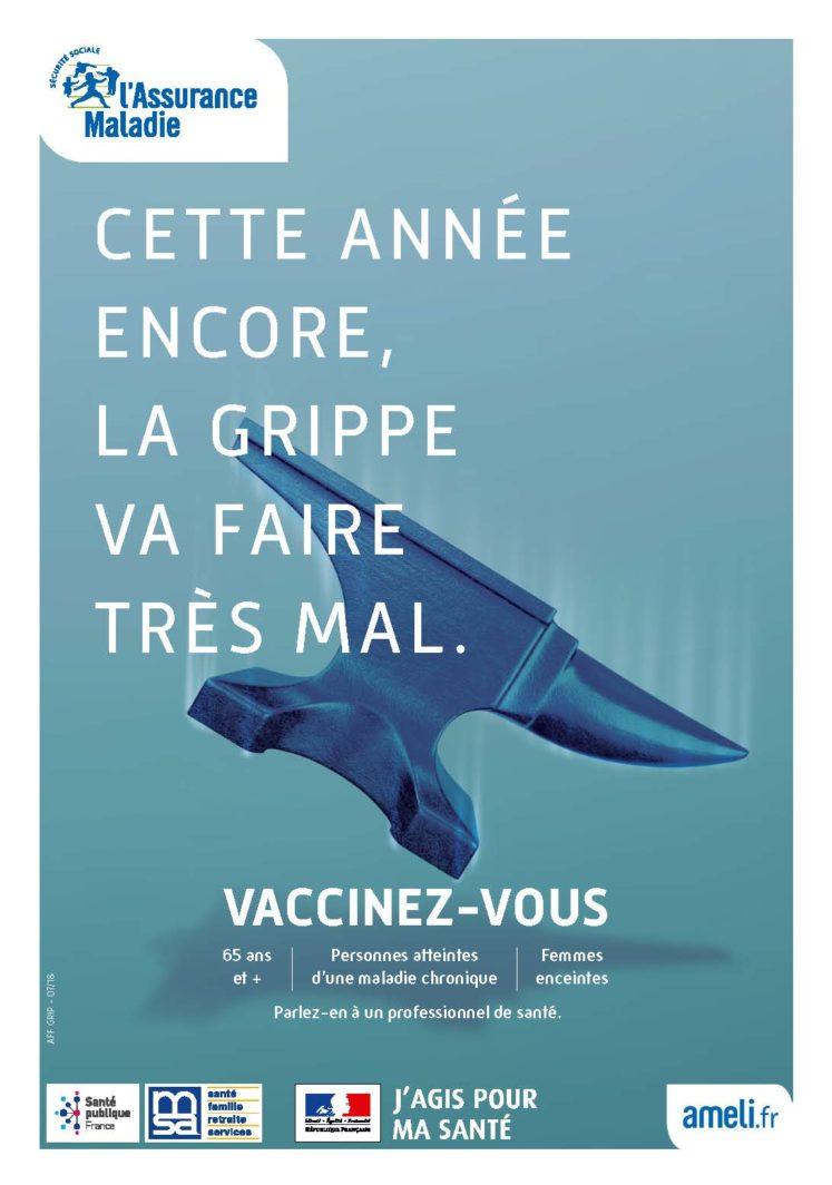 grippe vaccinez vous affiche 747x1064 - Lancement de la campagne de vaccination antigrippale 2019