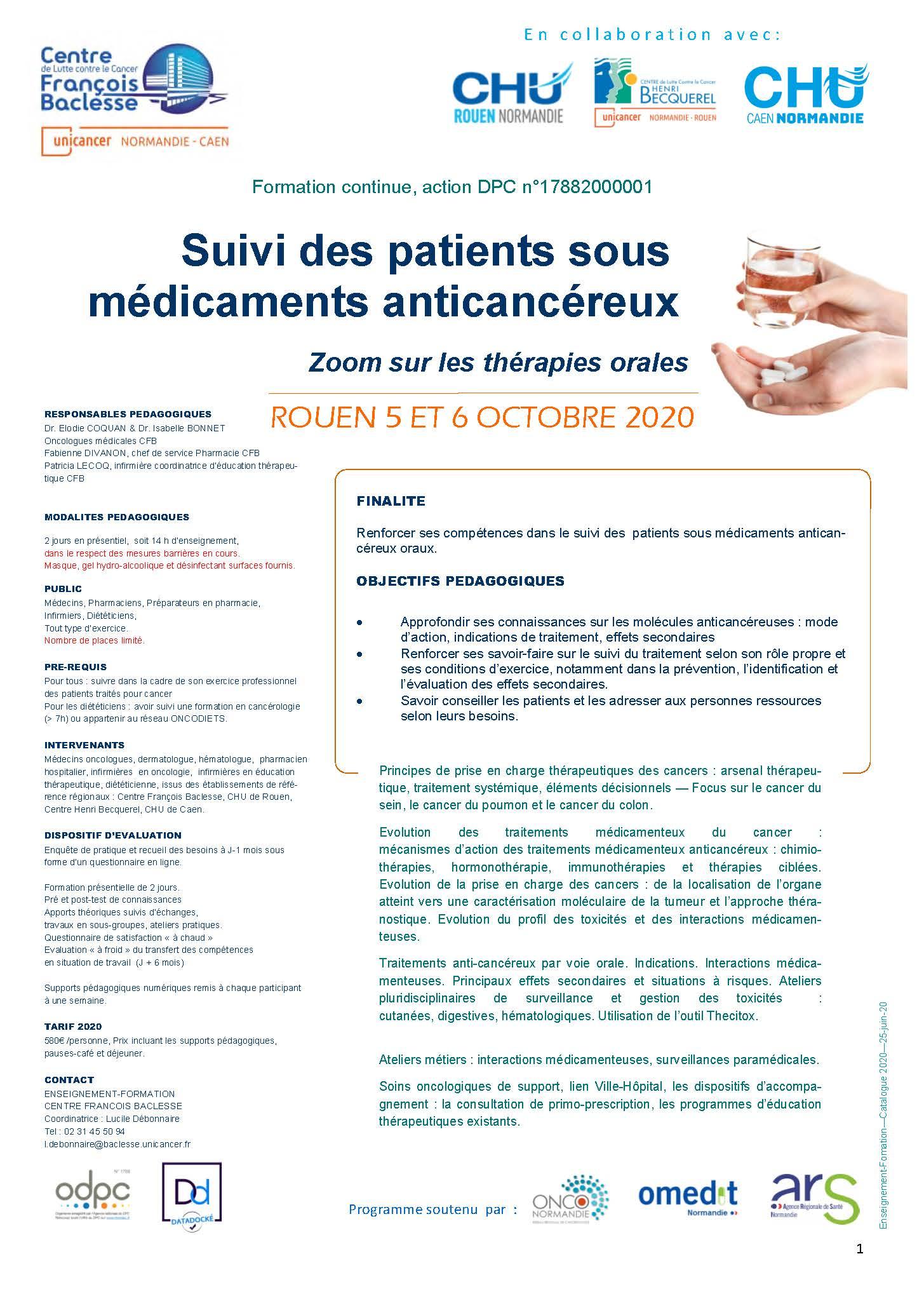 SUIVI DES PATIENTS SOUS MEDICAMENTS ANTICANCEREUX ROUEN2020 - Suivi des patients sous médicaments anticancéreux, zoom sur les thérapies orales
